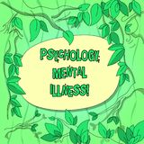 Handwriting text Psychology Mental Illness. Concept meaning Psychiatric disorder Mental health condition Tree Branches Scattered. With Leaves Surrounding Blank royalty free illustration