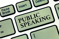 Handwriting text Public Speaking. Concept meaning talking people stage in subject Conference Presentation.  stock images