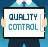 Handwriting text Quality Control. Concept meaning insure that product or service sold due to standards.  royalty free illustration
