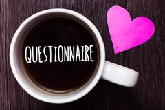 Handwriting text Questionnaire. Concept meaning Questions with a choice of answers Survey Statistical study Mug coffee lovely thou. Ghts ideas love hart romantic royalty free stock photography