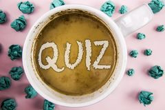 Handwriting text Quiz. Concept meaning Short Tests Evaluation Examination to quantify your knowledge written on Coffee in White Cu. Handwriting text Quiz Royalty Free Stock Photos