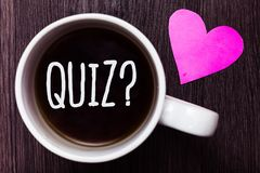 Handwriting Text Quiz Question. Concept Meaning Short Tests Evaluation Examination To Quantify Your Knowledge Mug Coffee Lovely Th Royalty Free Stock Photos