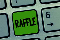 Handwriting text Raffle. Concept meaning means of raising money by selling numbered tickets offer as prize.  royalty free stock images