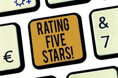 Handwriting text Rating Five Stars. Concept meaning indicating highest classification based given set criteria Keyboard. Key Intention to create computer stock photos