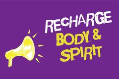 Handwriting text Recharge BodyandSpirit. Concept meaning fill your energy through relaxation and having fun Three lines text idea. Messages ideas alarm speaker Stock Photography