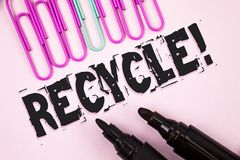 Handwriting text Recycle Motivational Call. Concept meaning Convderting waste into reusable material written on Plain Pink backgro. Handwriting text Recycle Stock Photos
