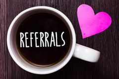 Handwriting text Referrals. Concept meaning Act of referring someone or something for consultation review Mug coffee lovely though. Ts ideas love hart romantic royalty free stock photography