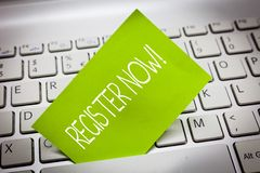 Handwriting text REGISTER NOW. Concept meaning To put information especially your name into an official list stock images