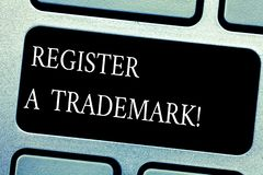 Handwriting text Register A Trademark. Concept meaning To record or list as official company brand or logo Keyboard key. Intention to create computer message royalty free illustration