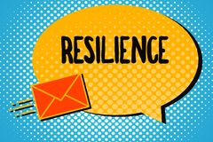 Handwriting text Resilience. Concept meaning Capacity to recover quickly from difficulties Persistence.  royalty free illustration