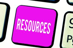 Handwriting text Resources. Concept meaning Money Materials Staff and other assets needed to run a company.  royalty free stock photos