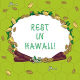 Handwriting text Rest In Hawaii. Concept meaning Have a relaxing time enjoying beautiful beaches and summer Wreath Made. Of Different Color Seeds Leaves and stock illustration