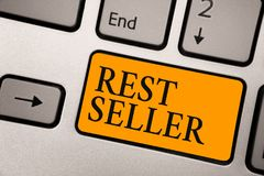 Handwriting text Rest Seller. Concept meaning one feature or the perceived benefit good which makes it unique Keyboard orange key. Intention create computer stock image