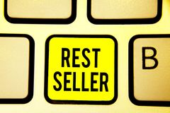 Handwriting text Rest Seller. Concept meaning one feature or the perceived benefit good which makes it unique Keyboard yellow key. Intention create computer stock photo