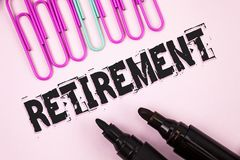 Handwriting text Retirement. Concept meaning Leaving Job Stop Ceasing to Work after reaching some age written on Plain Pink backgr. Handwriting text Retirement Royalty Free Stock Photography