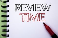 Handwriting text Review Time. Concept meaning Evaluating Survey Reviewing Analysis Checkup Inspection Revision written on Notebook. Handwriting text Review Time Royalty Free Stock Images