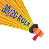 Handwriting text 80 20 Rule. Concept meaning Pareto principle 80 percent effects come from 20 causes.  vector illustration