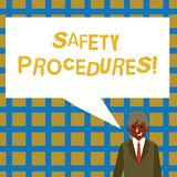 Handwriting text Safety Procedures. Concept meaning Follow rules and regulations for workplace security Businessman. Handwriting text Safety Procedures vector illustration