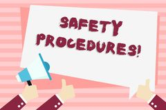 Handwriting text Safety Procedures. Concept meaning Follow rules and regulations for workplace security Hand Holding. Handwriting text Safety Procedures vector illustration