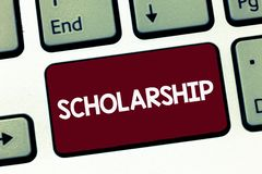 Handwriting text Scholarship. Concept meaning Grant or Payment made to support education Academic Study.  stock photography