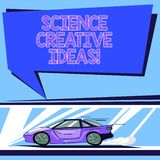 Handwriting text Science Creative Ideas. Concept meaning act of turning new and imaginative ideas into reality Car with Fast. Movement icon and Exhaust Smoke stock illustration