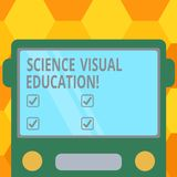 Handwriting text Science Visual Education. Concept meaning Use infographic to understand ideas and concepts Drawn Flat Front View. Of Bus with Blank Color royalty free illustration