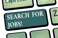 Handwriting text Search For Jobs. Concept meaning Unemployed looking for new opportunities Headhunting Keyboard key royalty free stock image