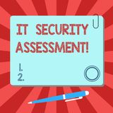 Handwriting text It Security Assessment. Concept meaning ensure that necessary security controls are in place Blank. Square Color Board with Magnet Click stock illustration