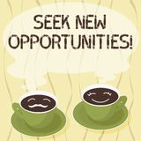 Handwriting text Seek New Opportunities. Concept meaning looking for a new job or another business venture Sets of Cup. Saucer for His and Hers Coffee Face icon royalty free illustration