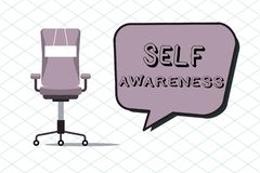 Handwriting text Self Awareness. Concept meaning Consciousness of a person towards a situation or happenings.  royalty free illustration