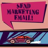 Handwriting text Send Marketing Email. Concept meaning targeting of consumers through electronic mail Car with Fast. Movement icon and Exhaust Smoke Blank Color vector illustration