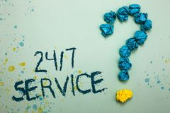 Handwriting text 24 7 Service. Concept meaning Always available to serve Runs constantly without disruption Crumpled papers formin. G question mark several tries stock images