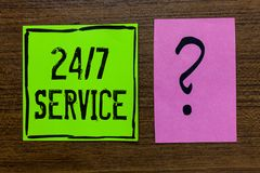 Handwriting text 24 7 Service. Concept meaning Always available to serve Runs constantly without disruption Green paper note Impor. Tant reminder pink question royalty free stock photos