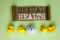 Handwriting text Sexual Health. Concept meaning STD prevention Use Protection Healthy Habits Sex Care written on Cardboard Paper o. Handwriting text Sexual stock photography