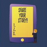 Handwriting text Share Your Story. Concept meaning Experience Nostalgia Memory Personal. Handwriting text Share Your Story. Conceptual photo Experience royalty free illustration