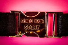 Handwriting text Share Your Story. Concept meaning Experience Storytelling Nostalgia Thoughts Memory Personal Words written black. Gold bealt seatbelt trousers Stock Photos