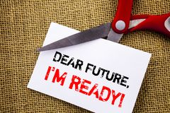 Handwriting text showing Dear Future, I Am Ready. Conceptual photo Inspirational Motivational Plan Achievement Confidence written. Sticky Note Paper Cutting by royalty free stock photos