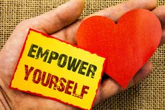 Handwriting text showing Empower Yourself. Business concept for Positive Motivation Advice For Personal Development written on Sti. Handwriting text showing Royalty Free Stock Photo