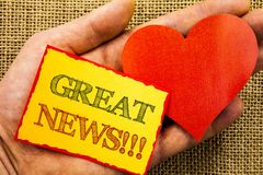 Handwriting text showing Great News. Business concept for Success Newspaper Information Celebration written on Sticky Note Paper W. Handwriting text showing Royalty Free Stock Images