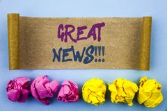 Handwriting text showing Great News. Concept meaning Success Newspaper Information Celebration written on tear sticky note Paper o. Handwriting text showing royalty free stock images