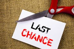 Handwriting text showing Last Chance. Conceptual photo Announcement Alert Time or Deadline Ending written on Sticky Note Paper Cut. Handwriting text showing Last stock illustration