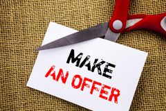 Handwriting text showing Make An Offer. Conceptual photo Settlement Negotiation With Agent Agency Over Home  written on Sticky Not Stock Photos