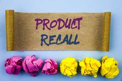 Handwriting text showing Product Recall. Concept meaning Recall Refund Return For Products Defects written on tear sticky note Pap. Handwriting text showing stock photos