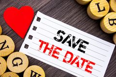 Handwriting text showing Save The Date. Conceptual photo Wedding Anniversary Invitation Reminder written on tear note paper sticky. Handwriting text showing Save royalty free stock image
