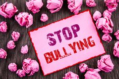 Handwriting text showing Stop Bullying. Business photo showcasing Awareness Problem About Violence Abuse Bully Problem written on. Handwriting text showing Stop Stock Images