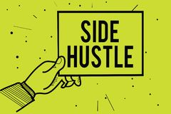Handwriting text Side Hustle. Concept meaning way make some extra cash that allows you flexibility to pursue Man hand holding pape. R communicating information royalty free illustration