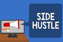 Handwriting text Side Hustle. Concept meaning way make some extra cash that allows you flexibility to pursue Man holding Megaphone. Loudspeaker computer screen royalty free illustration