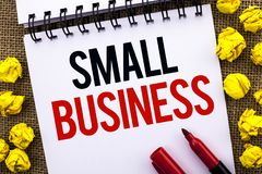 Handwriting text Small Business. Concept meaning Little Shop Starting Industry Entrepreneur Studio Store written on Notebook Book. Handwriting text Small Royalty Free Stock Photography