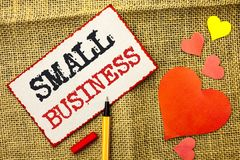 Handwriting text Small Business. Concept meaning Little Shop Starting Industry Entrepreneur Studio Store written on Sticky Note Pa. Handwriting text Small Stock Photos