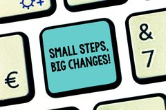 Handwriting text Small Steps Big Changes. Concept meaning Make little things to accomplish great goals Keyboard key. Intention to create computer message royalty free stock image